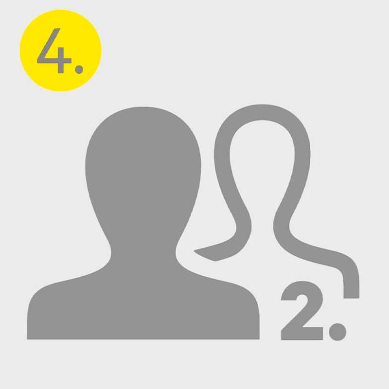 Graues Icon von zwei Personen und einer zwei, symbolisiert den vierten Schritt im Bewerbungsprozess, das zweite persönliche Gespräch